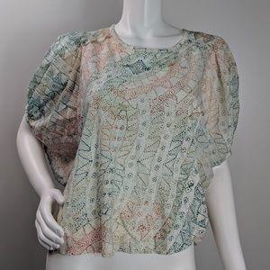 Anthro Eri + Ali 100% cotton dolman blouse size S